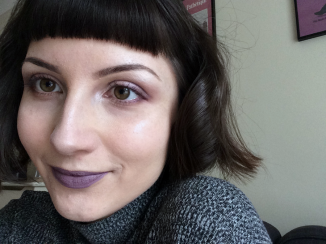 girl with purple lipstick